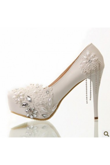 Lace And Rhinestone Sparkly Bridal Shoes - CH025 #1