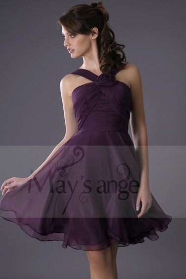 Robe cocktail glamour - Robe de cocktail violet foncé Passiflore - C080 #1