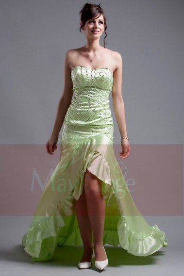 Asymetric evening dress in green satin Honey - L072 #1