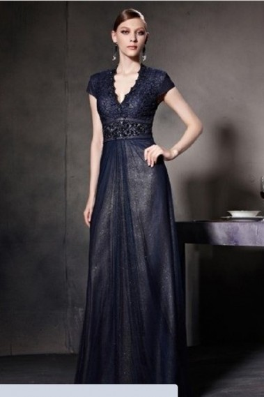 Elegant Evening Dress - Blue Night Flamenco Dress - PR084 #1