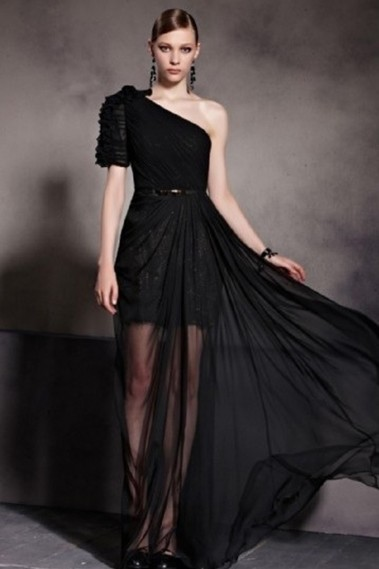 Black evening dress - Robe de soirée PR085 - PR085 #1