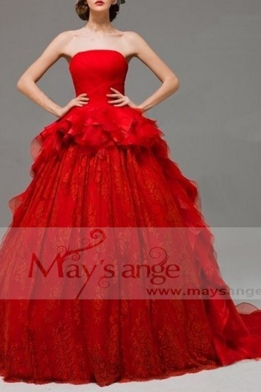 Red evening dress - Robe de bal p057 - P057 #1