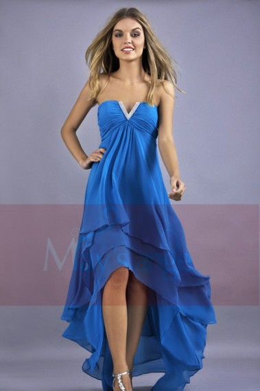 Backless cocktail dress - Blue Asymetrical Cocktail Dress - C083 #1