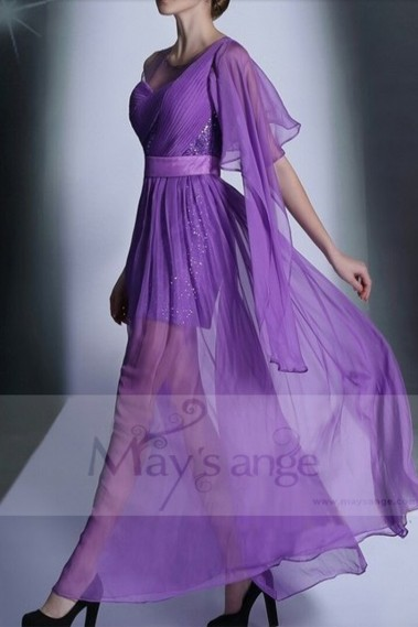 Purple Chiffon Long Party Dress With One Ruffle Long Sleeve - L659 #1