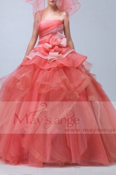 Red evening dress - Robe de bal p064 - P064 #1