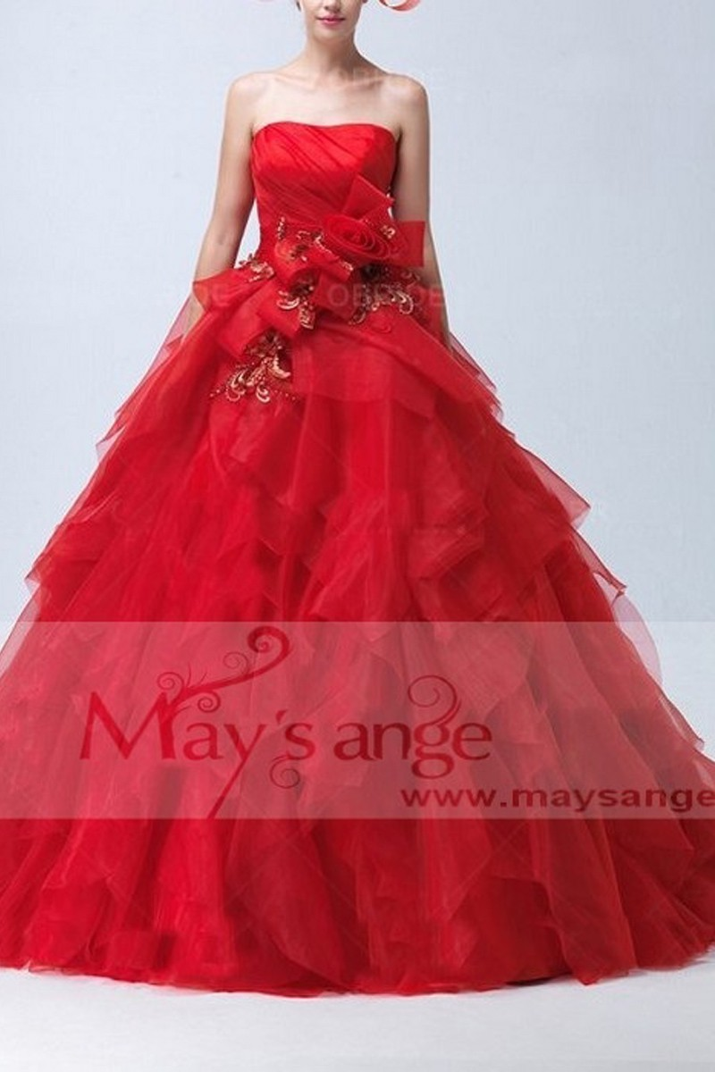 robe demoiselle d 39 honneur rouge bustier pour mariage ref. Black Bedroom Furniture Sets. Home Design Ideas