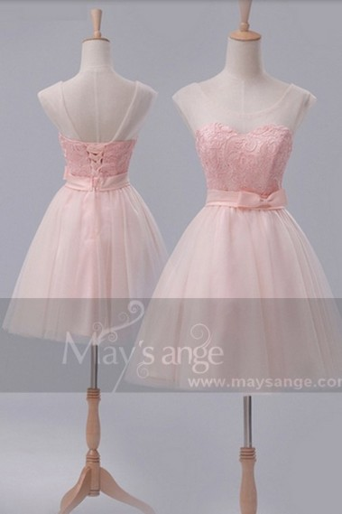 Robe de cocktail chic - Robe de cocktail  C660  Une touche de rose - C660 #1