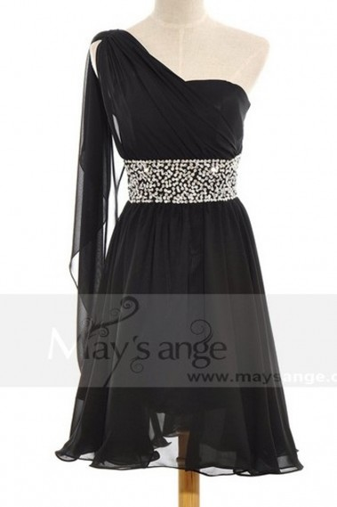 Evening Dress with straps - Short Black Chiffon and Sequins Dress C661 - C661 #1
