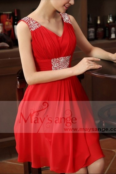 Evening Dress with straps - Cheap Red Fire evening dress C662 - C662 #1