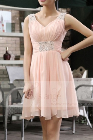 Pink bridesmaid dress - Pink Short Cocktail dress C663 - C663 #1