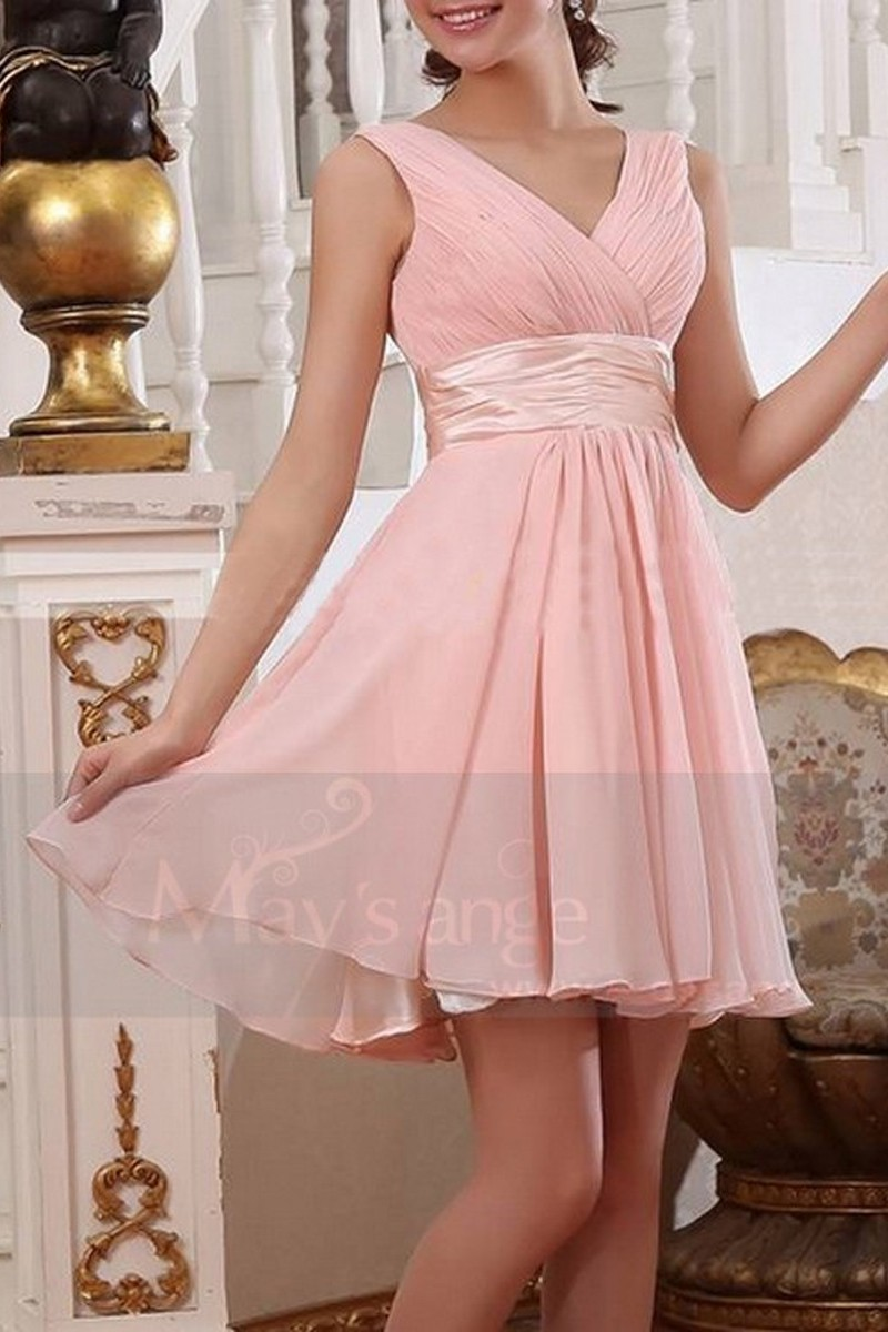 Robe de cocktail - Une touche de rose - Ref C666 - 01