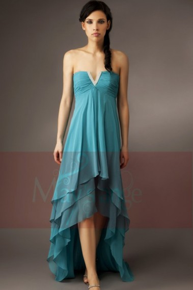 Elegant Evening Dress - Asymmetric Blue Cocktail Dress with V Rhinestones - C085 #1