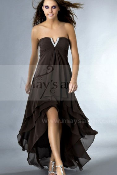 Fluid Evening Dress - Pretty Strapless Cocktail Dress with V Rhinestones - C086 #1