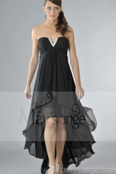 Elegant Evening Dress - Strapless Black Cocktail Dress With Asymmetric Cut - C087 #1