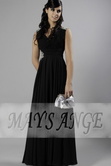 Black prom dress Ally  with sequins on one side - L071 promo #1