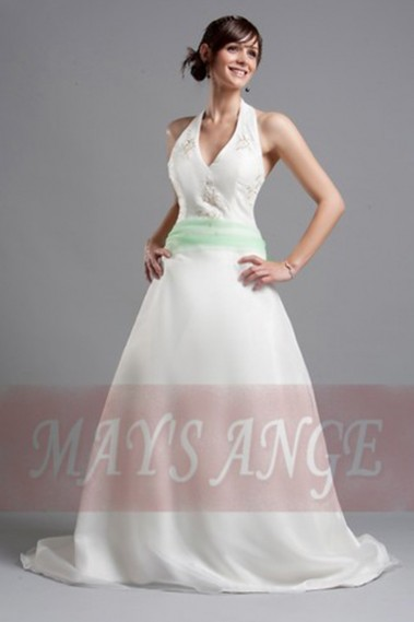 White wedding dress - Beautiful Wedding dress Eden with green belt and short train - M015 #1
