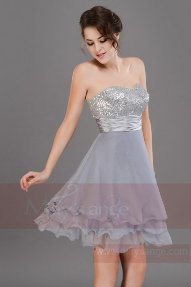 Short dress silver gray C659 Linda - C659 #1