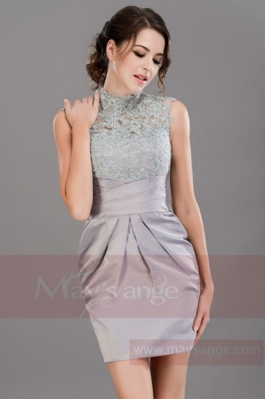 Short A-Line Silver dress Graduation Party Dress With Lace Top