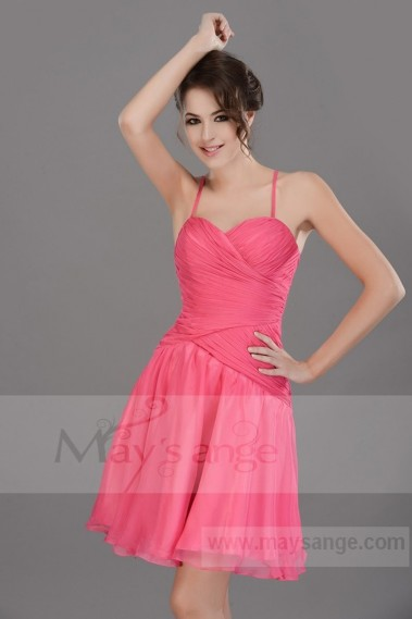 Pink evening dress - FUCHSIA SHORT COCKTAIL DRESS THIN STRAPS AND PLEATED BODICE - C671 #1