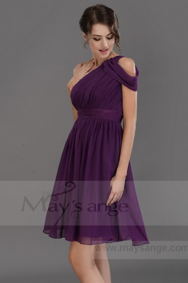 Long cocktail dress - One Shoulder Chiffon Purple Short Party Dress - C675 #1