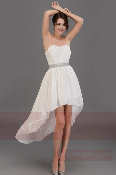 Long cocktail dress - White strapless asymmetrical dress C678 - C678 #1