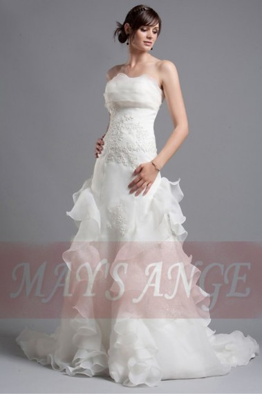 White wedding dress - Affordable wedding dresses Jada with bustier and long train - M017 #1