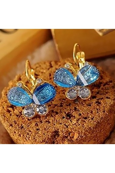 Butterfly gold earrings emerald stone - B003 #1