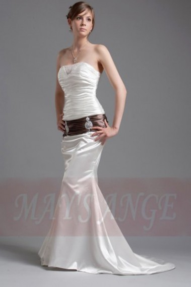 Long wedding dress - Cheap wedding dress Mermaid with brown belt - M018 #1