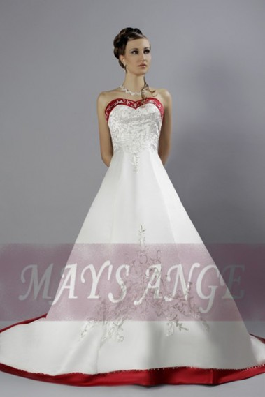 Princess Wedding Dress - Online wedding dresses Fairy Tale red and white - M020 #1