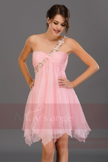 Robe cocktail été couleur rose bretelle fleuries - C681 #1