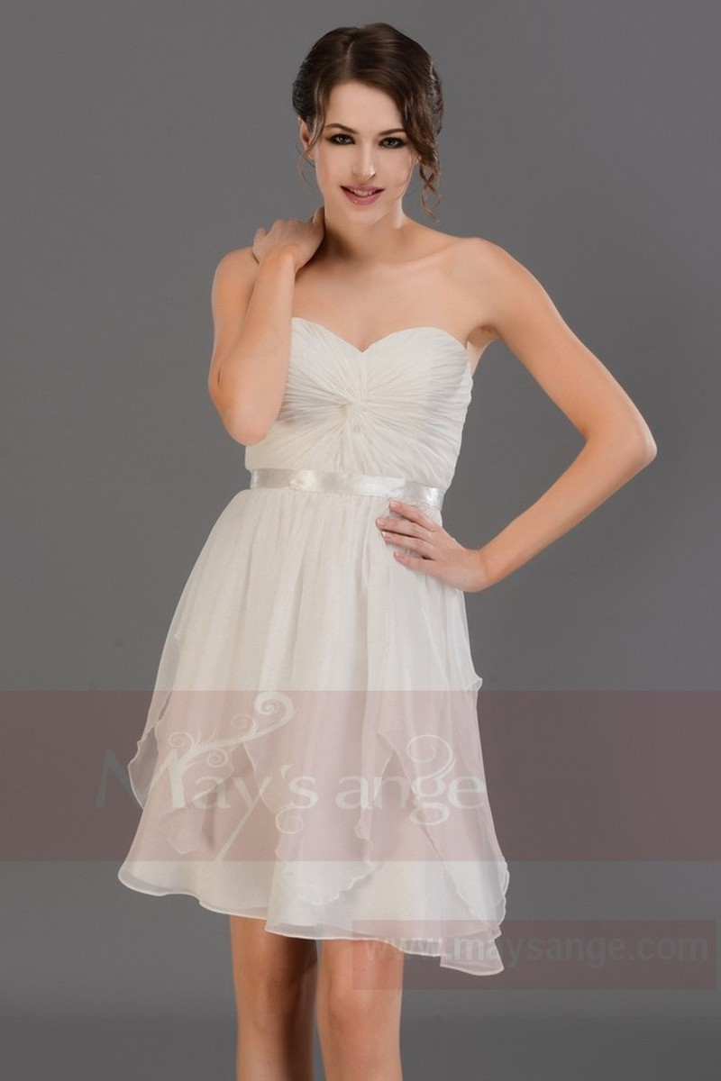 Robe de cocktail bustier blanc - Ref C686 - 01