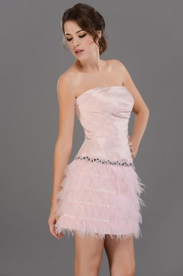 Straight cocktail dress - Strapless Short Pink Party Dress With Feathers Skirt - C687 #1