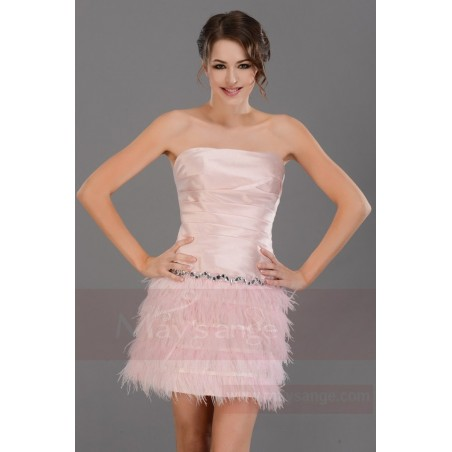 Robe de cocktail  C687  Couleur rose - Ref C687 - 03