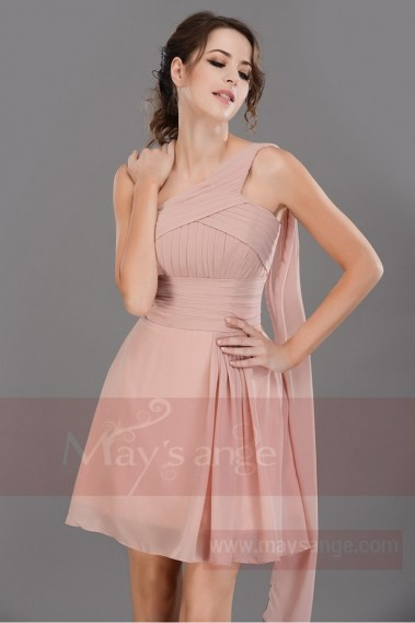 Long Dress for Wedding - Pink asymmetrical cocktail dress C690 - C690 #1