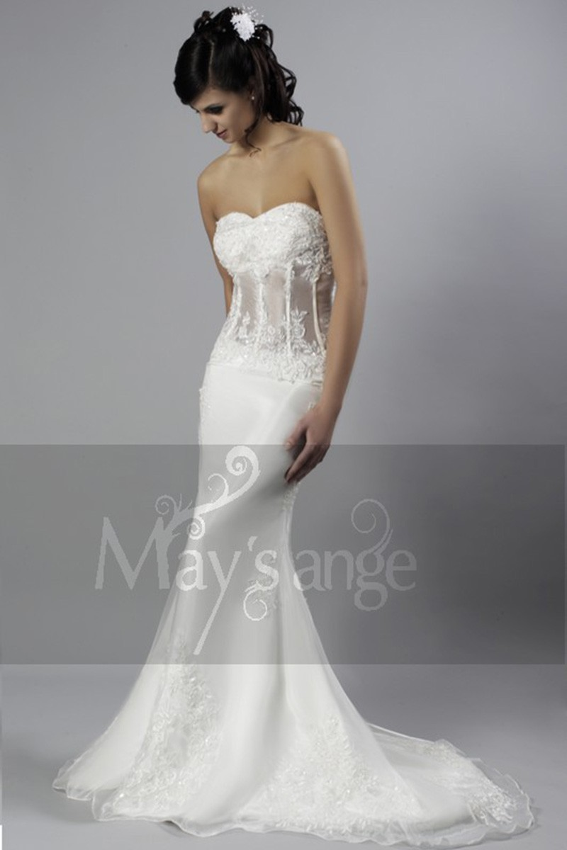 Lace wedding dress Paris with long train and transparent bustier