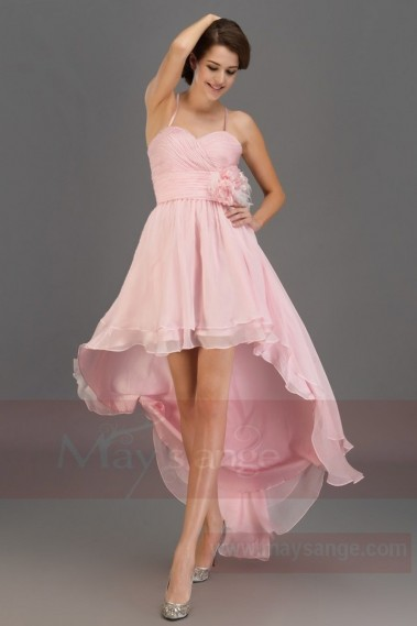 Pink bridesmaid dress - Evening Cocktail Dress High Low Style With Draped Bodice - L152 #1