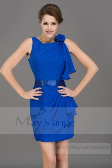 Straight cocktail dress - Chiffon Short Royal Blue Homecoming Dress - C076 #1