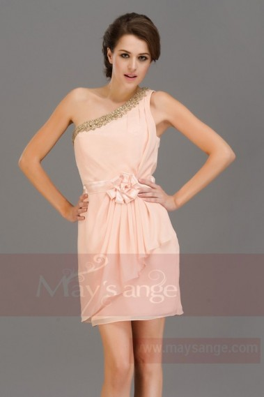 Robe cocktail glamour - Robe pour mariage simple bretelle  couleur saumon nude - C658 #1