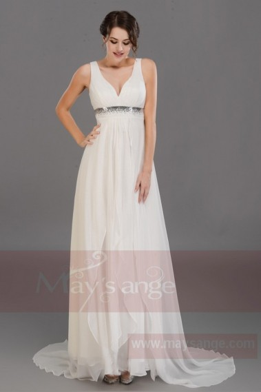 Fluid Evening Dress - Long White Dress For Wedding With Straps - L084 #1
