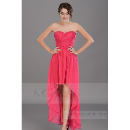 Robe de cocktail en mousseline rose labyrinthe fuchsia - Ref C669 - 02