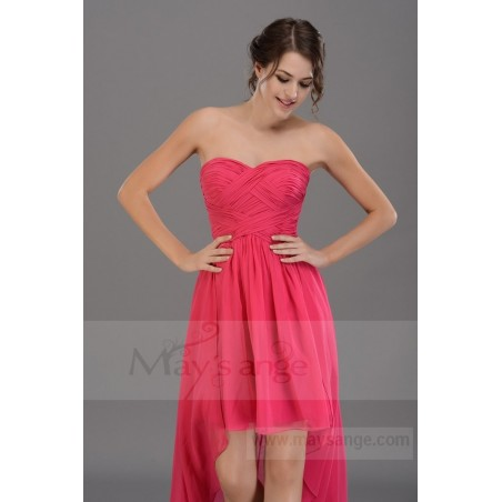 Robe de cocktail en mousseline rose labyrinthe fuchsia - Ref C669 - 03