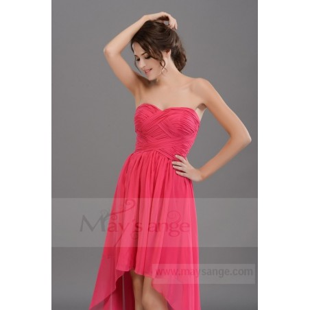 Robe de cocktail en mousseline rose labyrinthe fuchsia - Ref C669 - 04