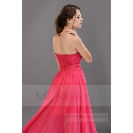 Robe de cocktail en mousseline rose labyrinthe fuchsia - Ref C669 - 05