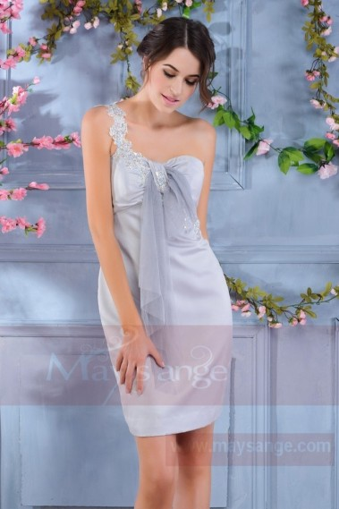 Short cocktail dress - Light Grey Semi-Formal Dress With One Lace Strap - C187 #1