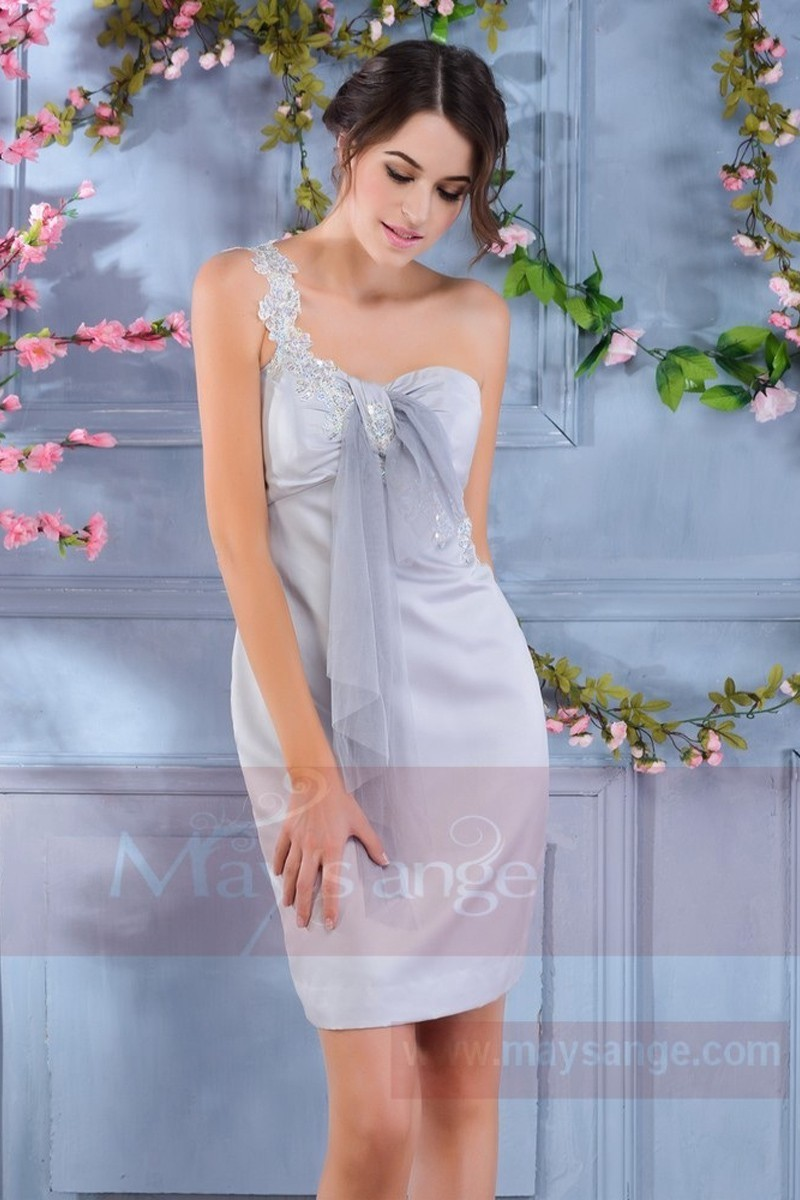 44bc85592b6b Light Grey Semi-Formal Dress With One Lace Strap - Ref C187 - 01