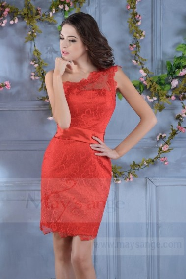 Red evening dress - Short Red Fire Dress with Lace C714 - C714 #1