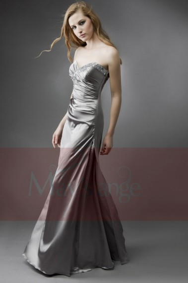 Long Dress for Wedding - Evening dress Silver leaf bustier - L080 #1