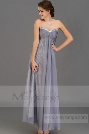 Strapless Evening Dress - L666 prom dress heart diamond mouse gray maysange - L666 #1