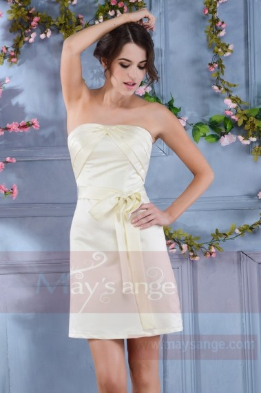 Robe courte blanche - Robe bustier Satin coupe droite ivoire - C718 #1