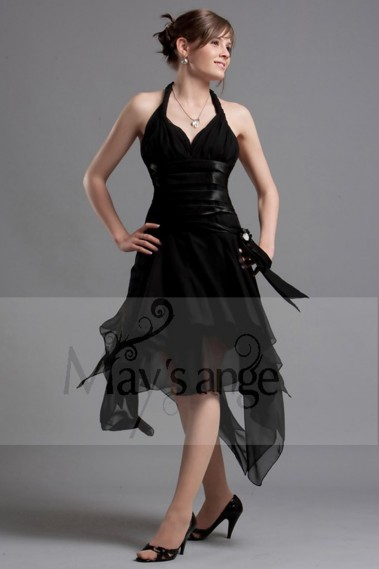 Long cocktail dress - Black Party Dress With Asymmetrical hem - L082 #1